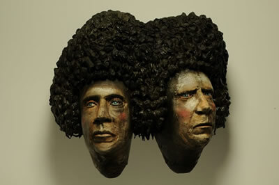 Ceramic Sculpture Joined Heads